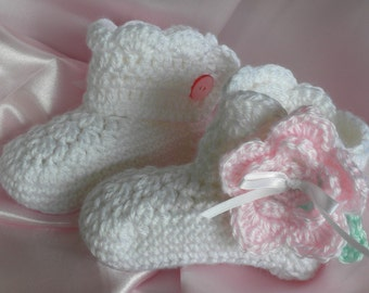 Crocheted Baby Booties, Twelve Month Old Booties, White Booties with Pink Flower, Baby Girl Booties, Photo Prop Baby Booties, Baby Booties