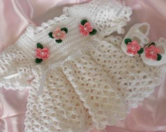 Crochet Baby Dress, White Baby Dress, Newborn Baby Dress, Blessing Baby Dress, Crochet Baby Booties, Christening Dress, Photo Prop Dress