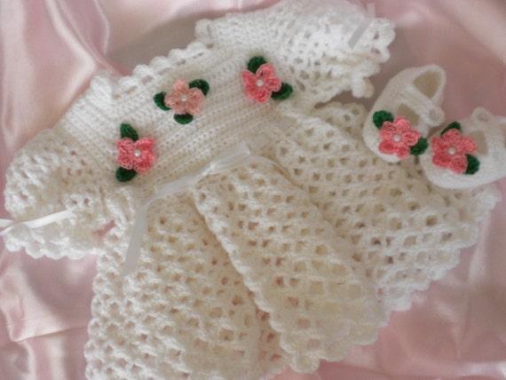 Crochet Baby Dress White Baby Dress Newborn Baby Dress