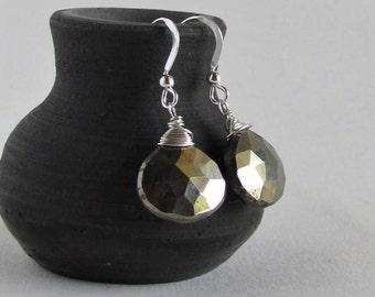 Iron Pyrite Earrings - Metallic - Autumn Fashion