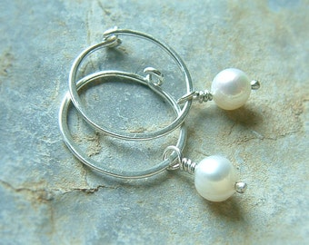 Small Hoop Earrings Pearl Earrings Sterling Silver Tiny Hoops, White Pearls eco friendly Womens Jewelry