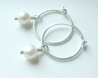 Silver Hoop Earrings Small Hoop Pearl Earrings Sterling Silver Hoops birthstone jewelry