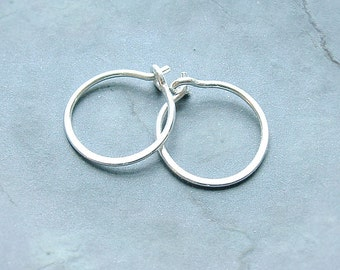 Small Sterling Silver Hoop Earrings Handmade Silver Hoops unisex, men, women his and hers minimalist jewelry, gift