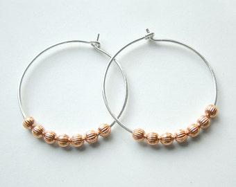 Silver Hoop Earrings Sterling Silver Hoops Copper Beaded Hoop Mixed Metal Hoop eco friendly jewelry