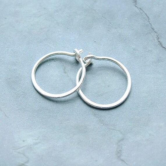 Small Sterling Silver Hoop Earrings Handmade Silver Hoops unisex, men, women his and hers minimalist jewelry, gift