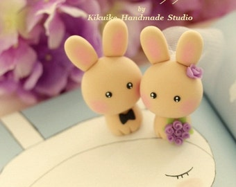 rabbit and bunny  Wedding Cake Topper---k928