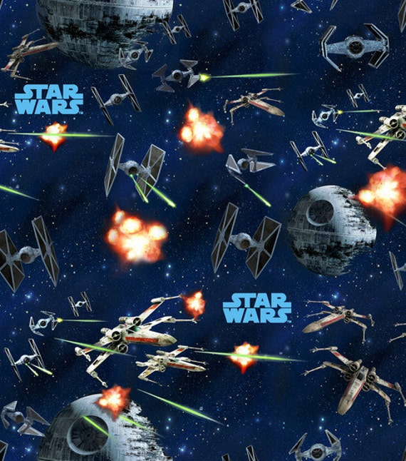 Star wars star ships 2 fabric remnant 23 by for Star wars fabric