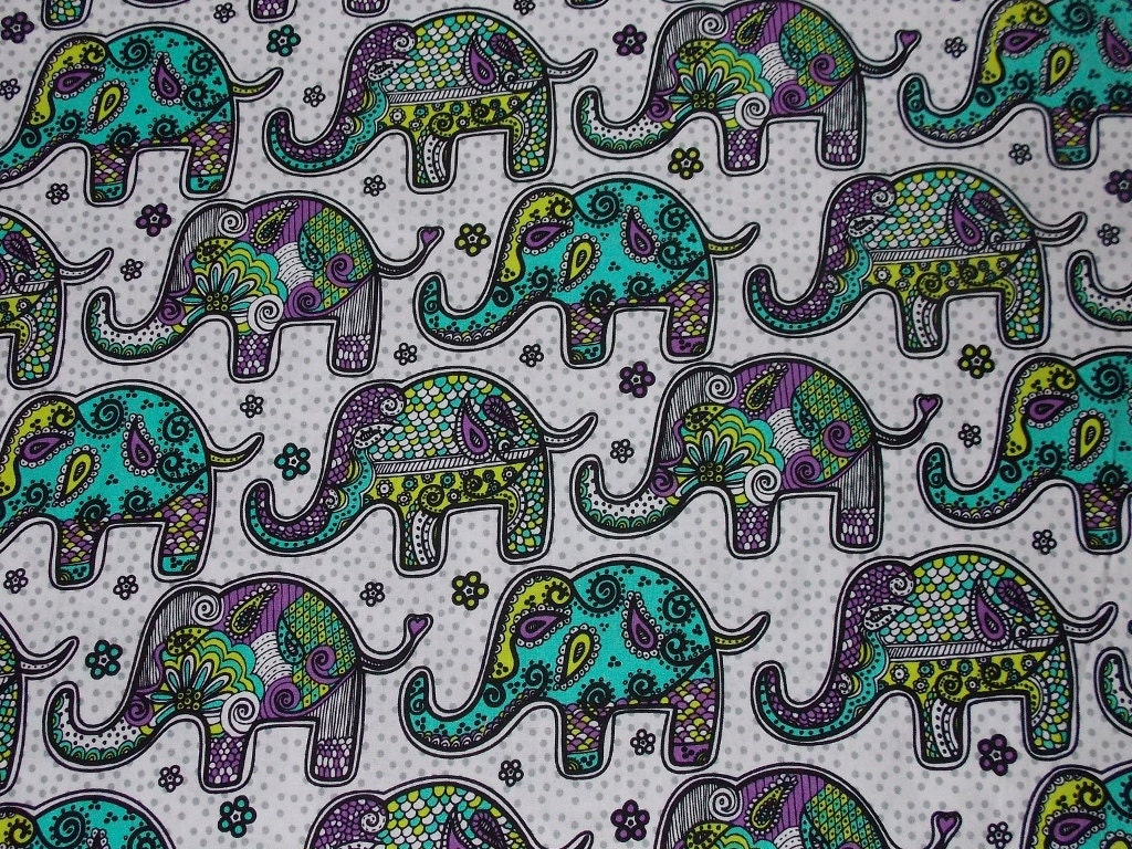 Mosaic elephant fabric by the yard for By the yard fabric
