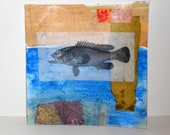 "6x6 collage-OOAK Original-cut and paste paper collage--""San Jose Blue"""