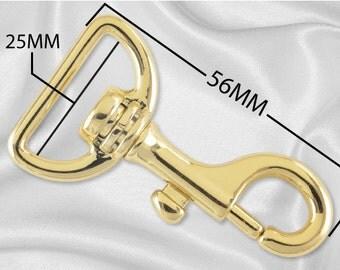 "10pcs - 1"" Metal Large Bolt Snap Hook - Gold - (METAL HOOK MHK-106)"