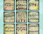 Digital Collage Sheet VINTAGE MUSIC SHEETS 1in Squares Printable Download - no. 0031