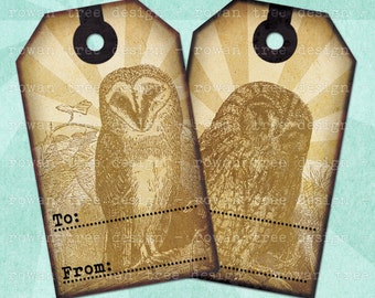VINTAGE OWLS Printable Gift Tags Digital Collage Sheet - no. 0159