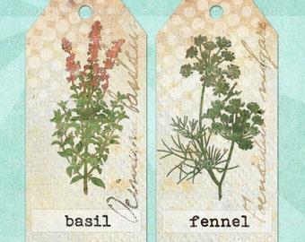 Printable Tags HERBAL BOTANICAL Digital Collage Sheet Tags & Bookmark - no. 0052