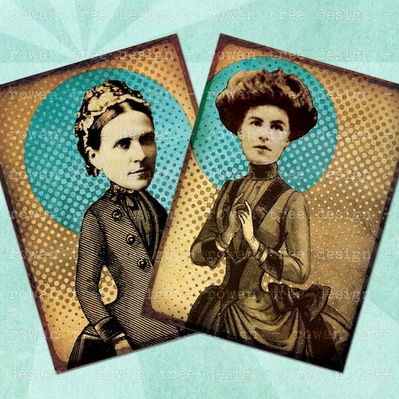 COLLAGED VICTORIAN LADIES Digital Collage Sheet 2.5x3.5in - no. 0123