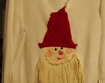 Plus Size Upcycled White Cotton Sweater/Perky Santa With  Red Hat and Raggey Muslin Beard/ Sheerfab Christmas