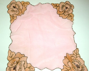 Very Sheer Vintage Pink Handkerchief, Old Hankie, Hanky With Glitter, Unusual Ladies Accessory, Old, Floral, Flower, Pansy    (578-12)