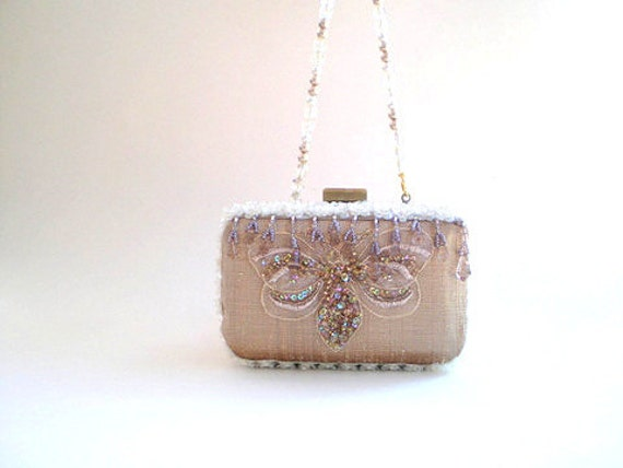 bridal purse, bridal clutch, evening bags, weddings, 20% OFF coupon, sale, silk, champagne, white, Great Gatsby, beads, sequins