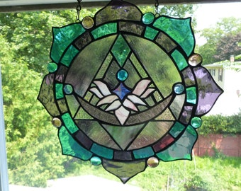 Purple and Turquoise Lotus Flower Pyramid Panel Dichroic accents