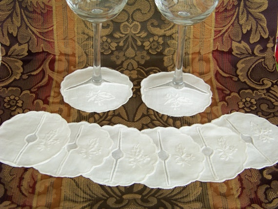 Vintage Wine Glass Coasters or Cuffs Set of 8