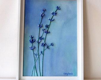 Lavender Wall Art - Mixed Media Original String Art 3D Textured Painting Blue Purple Framed Art Best Selling Item