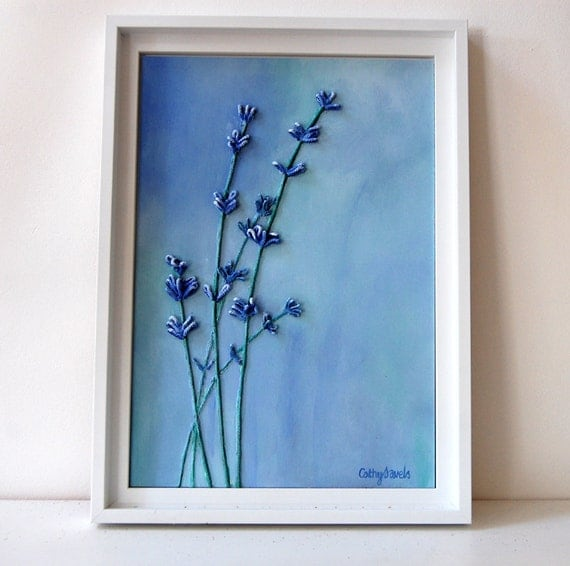Lavender Painting - Mixed Media Original String and Acrylics - Framed - Great New Home Gift