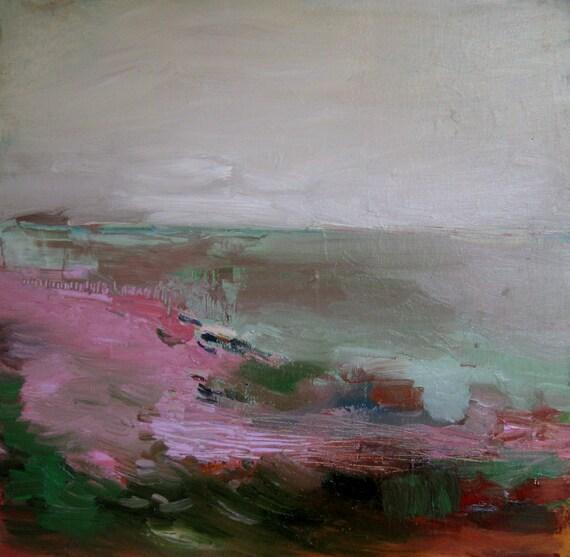 Landscape, Original oil painting on wood panel 12'' x 12''