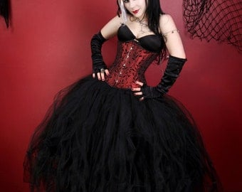 All Black Cyber Gothic Formal Wedding Tulle Skirt all sizes MTCoffinz