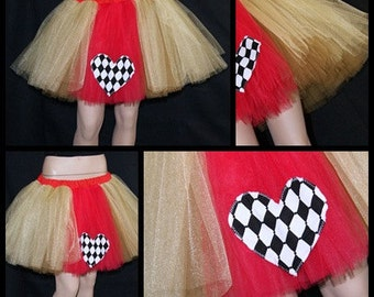 Red Shimmer Gold Queen of Hearts Costume TuTu Skirt MTCoffinz Adult Medium Sizes --- Ready to Ship