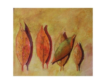 Original Watercolor * AUTUMN LEAVES * Art by Rodriguez * Small Art Format