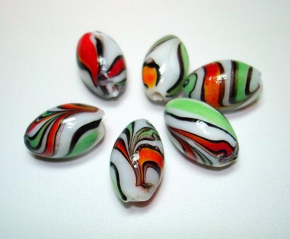Green Red Orange Black Striped Lampwork Oval Beads (Qty 6) - B1402