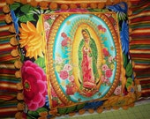 Virgin of Guadalupe Mexican Pillow Batea Bowl Folk Art Flowers Vintage Pom Pom Trim