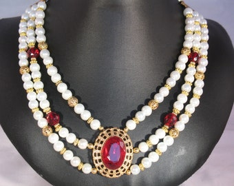 "Elizabethan ""Elspeth"" Necklace with Red Crystal and Gold Findings"