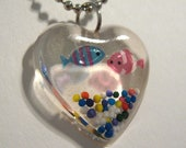 Heart Shaped Fish Tank Resin Pendant with Ball Chain