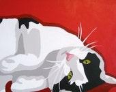 Custom 8x8 POP ART Pet Cat Portrait Painting