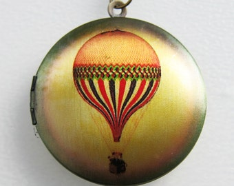 Hot Air Balloon Locket Necklace - Brass Photo Locket  (R3B-E2)