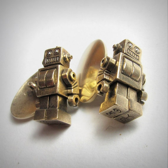 Robot Cufflinks Solid bronze Vintage Style MICROBOTS stainless eyes moving arms and legs