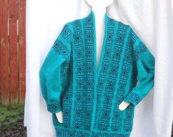Scottish designer  Sweater, Jacket Celtic Jacket, Knitted Jacket  in Jade green wool with navy contrast pattern