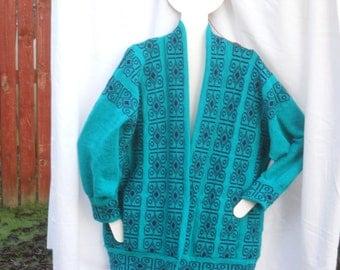 Half Price, Scottish designer  Sweater, Jacket Celtic Jacket, Knitted Jacket  in Jade green,Jumper, Sweater