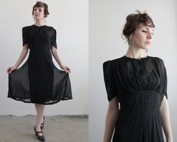 1930s Dress and Slip . Silk Sheer LBD . 30s Gown . Black . Deco . High Fashion