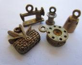 vintage charms/pendants, sewing tools, very sweet, in bronze metal, estate sale find.(lot 1835)