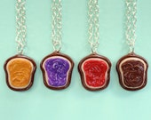 Realistic 4 Best Friend Necklaces Peanut Butter, Grape, Strawberry Jelly, Nutella Bread Toast Friendship Necklaces Miniature Food Jewelry