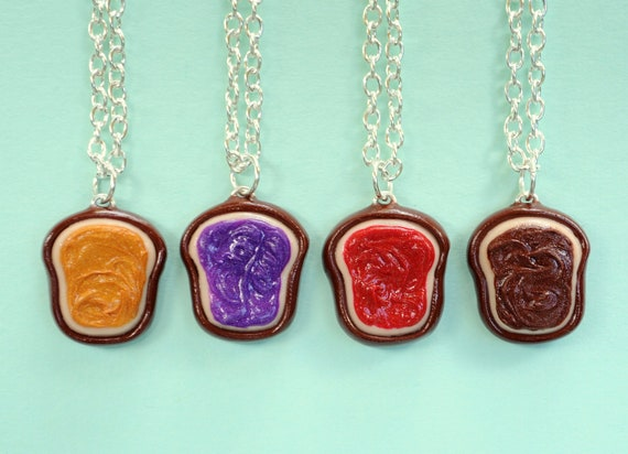 realistic 4 best friend necklaces peanut butter grape