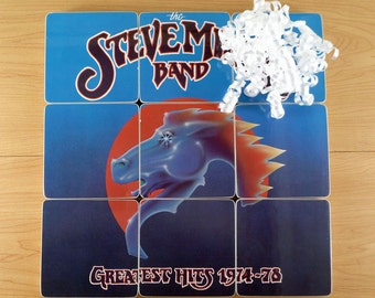 Steve Miller Band upcycled Greatest Hits album cover coasters and warped vinyl bowl