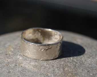 Organic hammered sterling Ring- Unisex