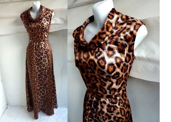 Vintage 60s Dress Size 36 Chest Disco Leopard Sleeveless Satin maxi 70s