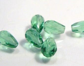6 Beads...Light  Green Czech  Glass faceted Teardrop Briolette Beads....9x6mm