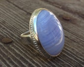 Tree of Life African blue lace agate ring  size 4.5