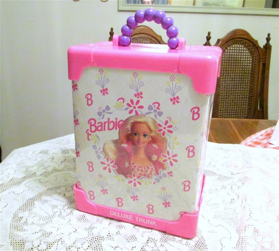 Barbie Deluxe Doll Trunk 1991 Mattel Pink Vintage Case Girls