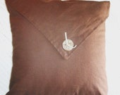 SALE, Toss, throw linen Pillow cover with hand made ceramic button, brown, 16x16, ready to ship.