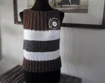 Grey, White, and Chocolate Brown Sleeveless Sweater
